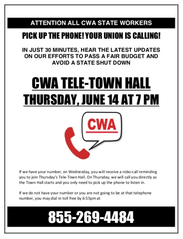 Free Talk Thursday May 14th In >> Cwa Tele Town Hall Thursday June 14 At 7 00pm Cwa Local 1033