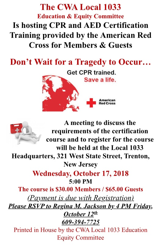 Cpr And Aed Certification Course October 17 2018 Cwa Local 1033